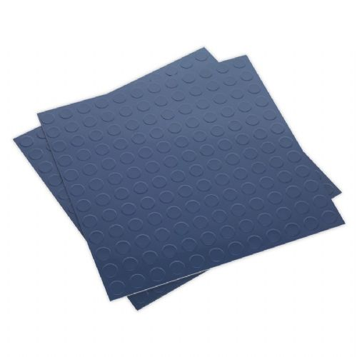 Sealey FT2B Vinyl Floor Tile with Peel and Stick Backing - Blue Coin Pack of 16